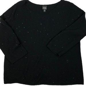 Eileen Fisher Merino Embellished Black Sweater  XL
